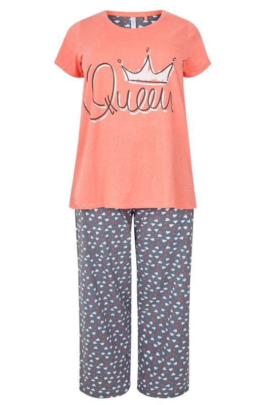 it cover letters plus size coral pyjama set sizes 16 to 36 22613 | Coral Queen Pyjama Set 170618 f566