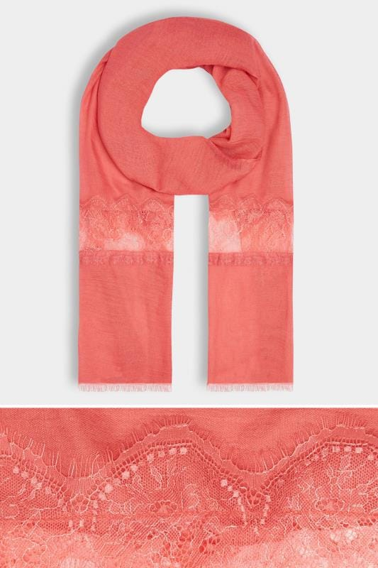 Plus Size Scarves Coral Scarf With Lace Insert