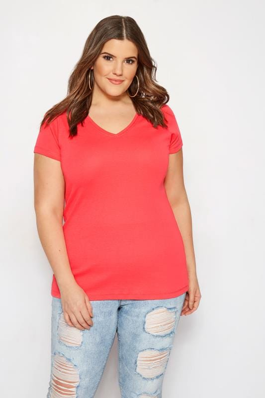 09c86a69 Plus Size Coral V-Neck T-Shirt | Sizes 16 to 36 | Yours Clothing