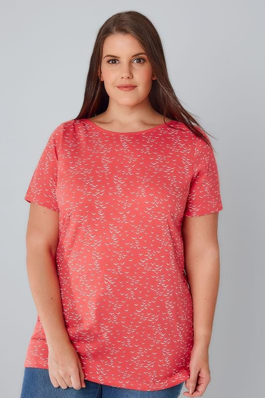 Plus Size Jersey Tops Coral & White Bird Print Boat Neck Top