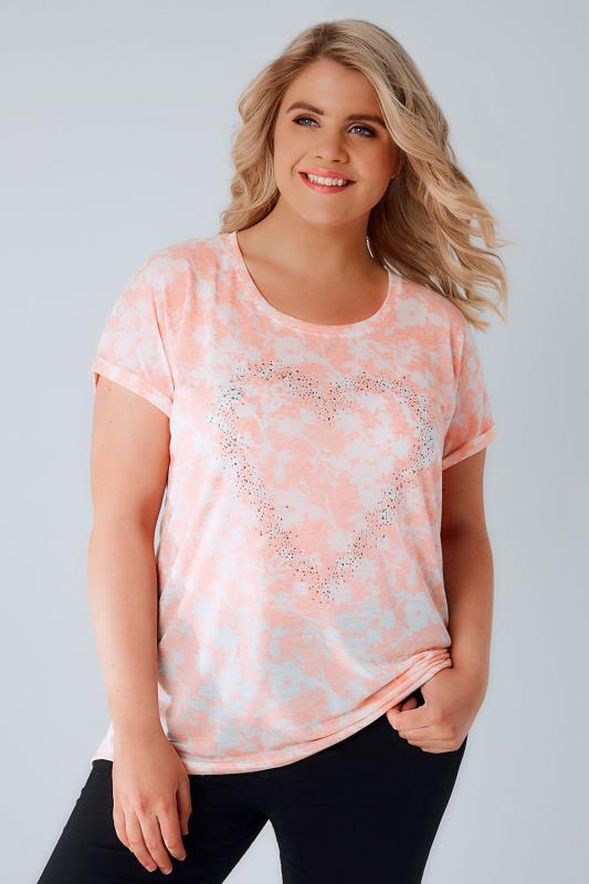 Coral & White Floral Textured Jersey T-Shirt With Stud Heart Detail