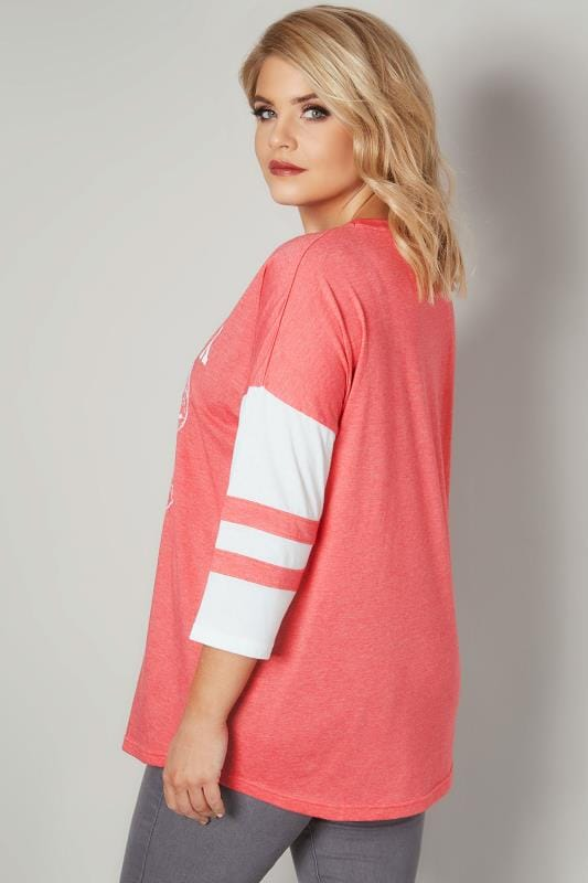 Coral & White 'New York' Embroidered Raglan Top
