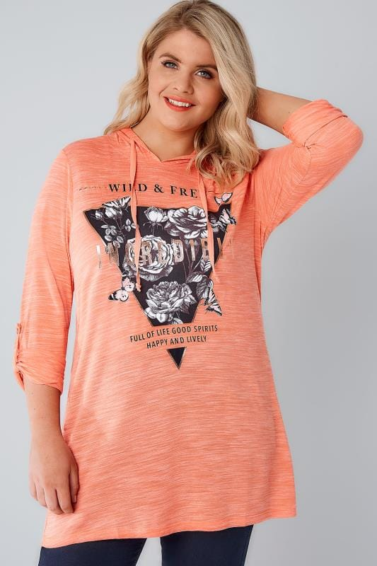 Coral 'Wild & Free' Hooded Sweat Top