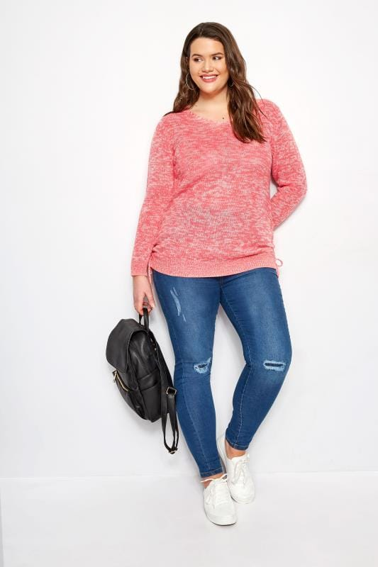 Coral Ruched Hem Lace Jumper