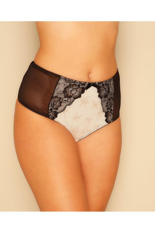 Cream & Black Lace & Floral Briefs