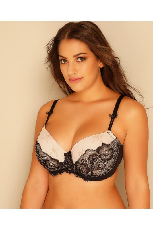 Cream & Black Lace & Floral Underwired Moulded Balcony Bra
