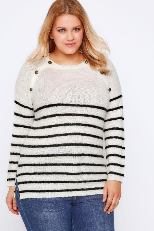 Cream & Black Stripe Knit Jumper With Bronze Buttons