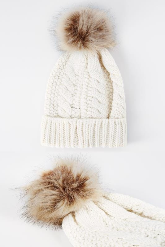 Cream Cable Knit Hat With Pom-Pom