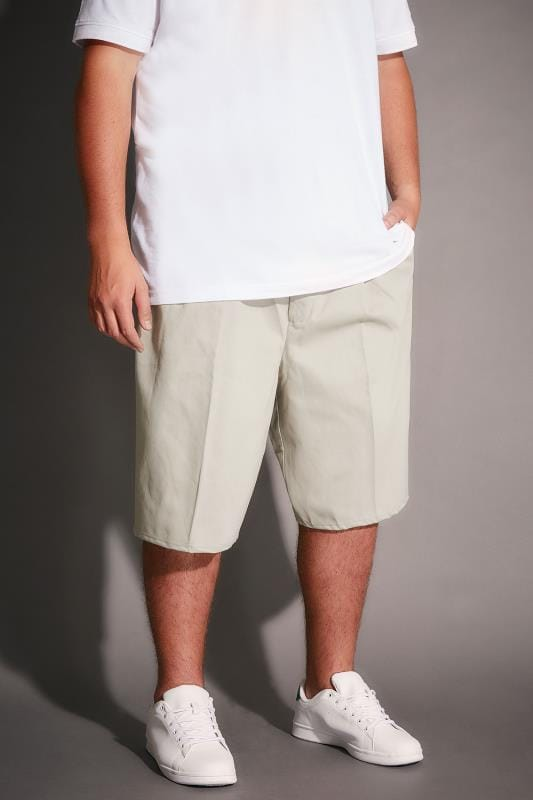 Cream Chino Shorts With Elasticated Waist Insert