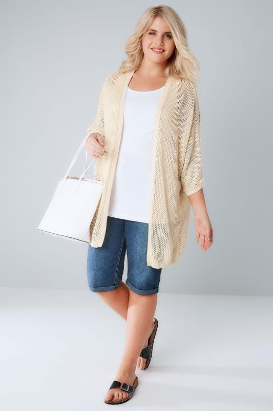 Cream Open Knit Cocoon Cardigan With Half Sleeves