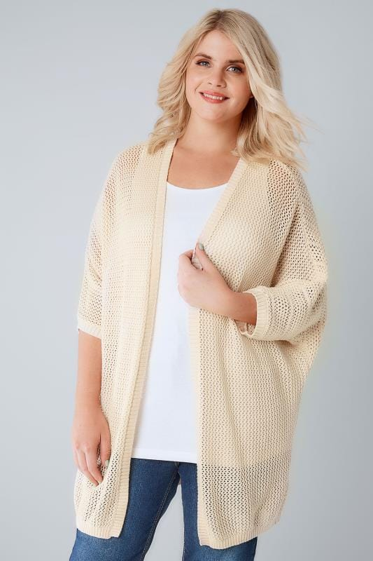 Grande taille  Gilets Cardican cocon chunky crème avec manches courtes