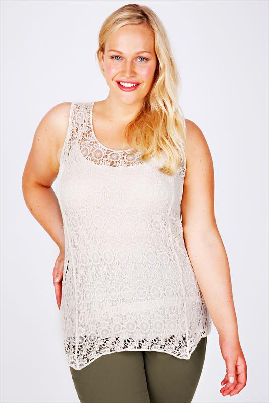 Cream Crochet Swing Vest