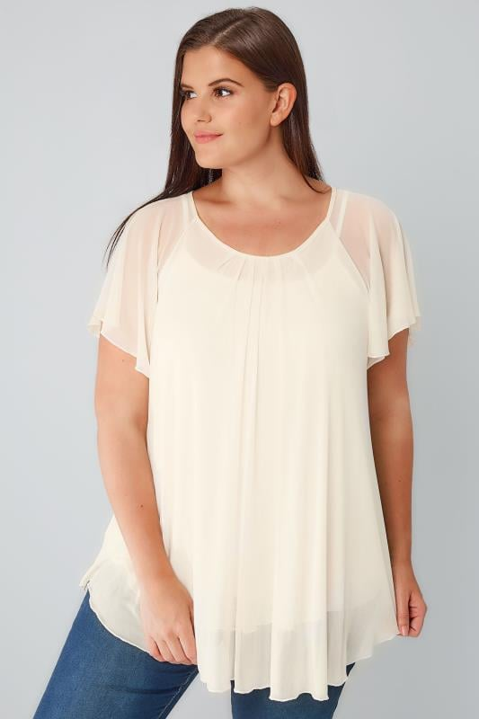 Cream Double Layered Mesh Lightweight Blouse With Angel Sleeves