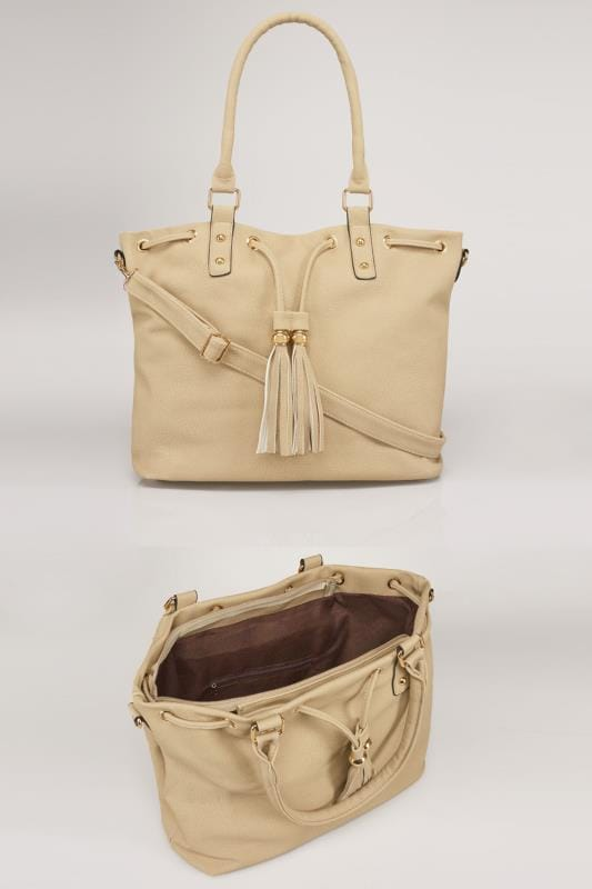 Plus Size Shopper & Tote Bags Cream Drawstring Shoulder Bag With Tassels