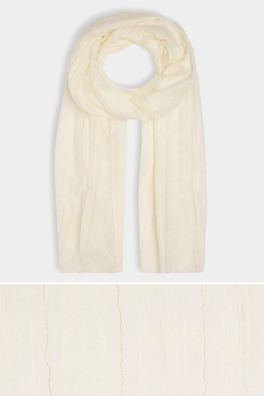 Plus Size Scarves Cream & Gold Metallic Fibre Textured Scarf