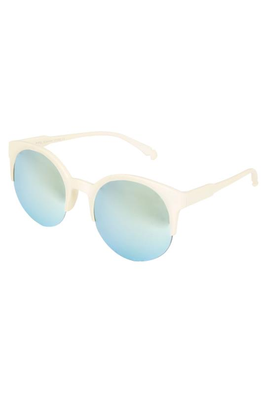 Cream Half Frame Mirror Sunglasses With UV 400 Protection