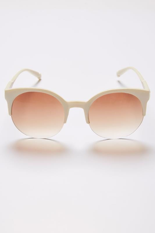 Cream Half Frame Sunglasses With UV 400 Protection