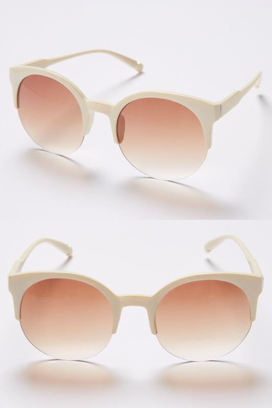 Plus Size Sunglasses Cream Half Frame Sunglasses With UV 400 Protection