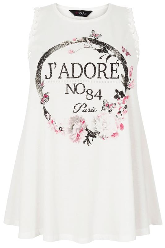 addressing a letter j adore slogan print vest top with whipstitch 20392