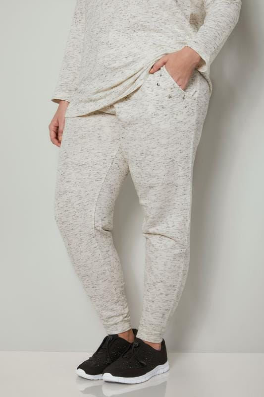 Plus Size Joggers Cream Joggers With Faux Pearl Embellishment