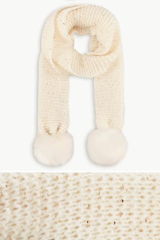Plus Size Scarves Cream Knitted Sequin Pom Pom Scarf