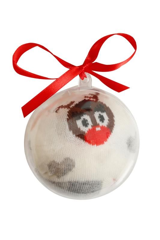 Cream & Multi Christmas Reindeer Socks In Gift Bauble