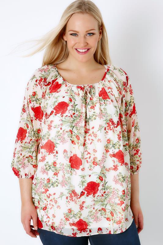 Cream & Multi Rose Print Chiffon Blouse