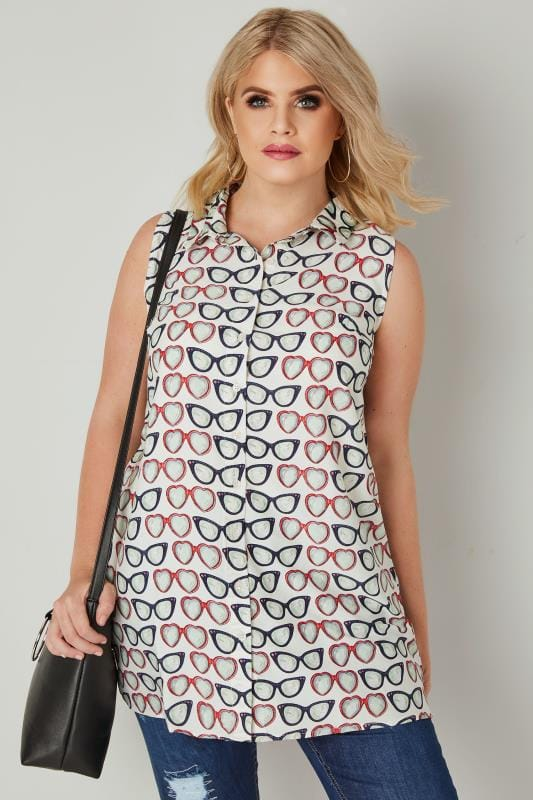 Cream & Multi Sunglasses Print Longline Sleeveless Shirt