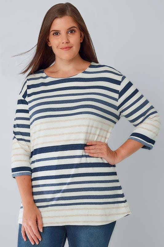 Cream, Oatmeal & Navy Stripe Long Sleeve T-Shirt