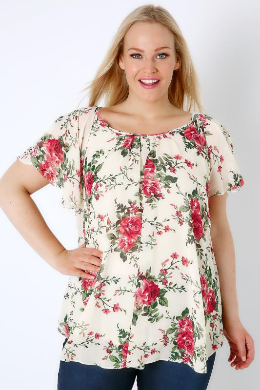 Cream & Pink Floral Chiffon Top With Angel Sleeves