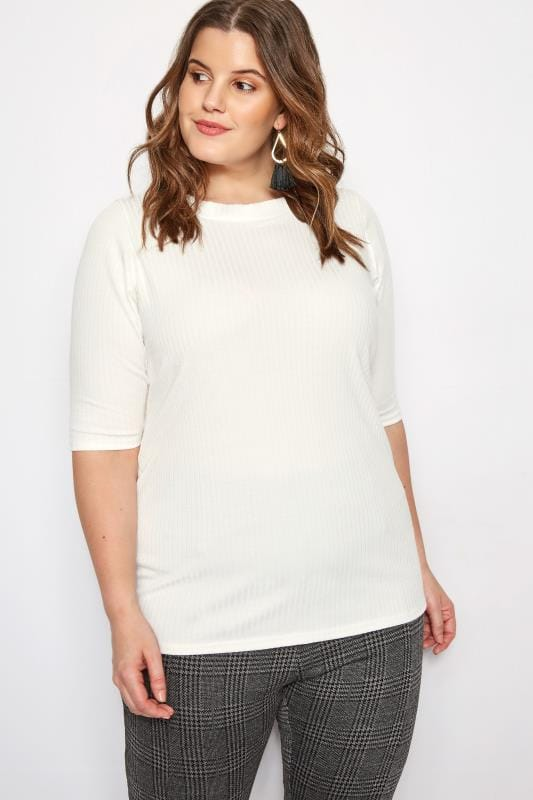 Plus Size Day Tops LIMITED COLLECTION Cream Ribbed Top