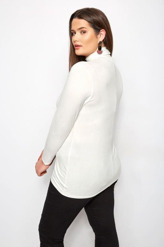 Plus Size Jersey Tops Cream Roll Neck Top