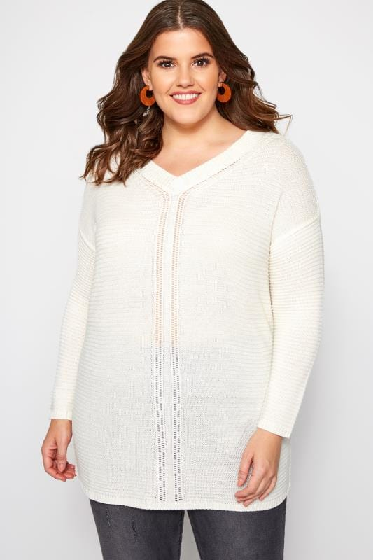 Plus Size Jumpers Cream V-Neck Jumper