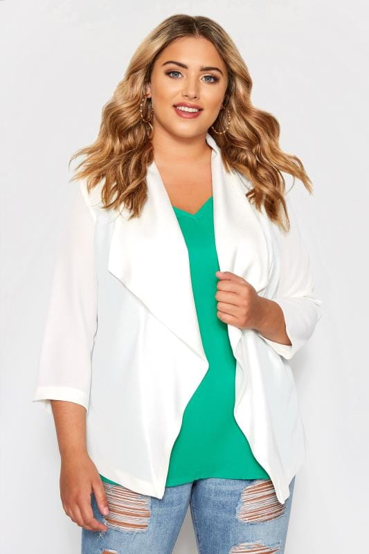 Plus Size Blazers SIZE UP Cream Crepe Waterfall Blazer Jacket
