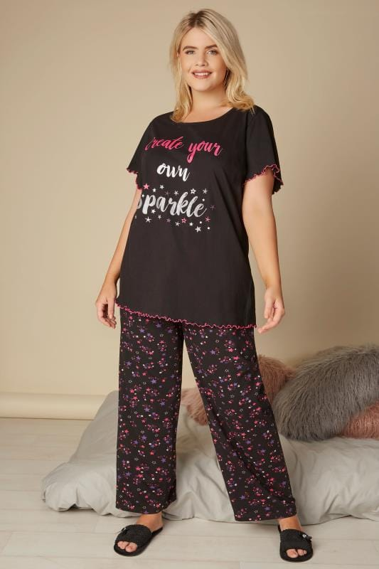 Black 'Create Your Own Sparkle' Pyjama Top