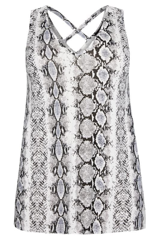 snake print cross back vest top