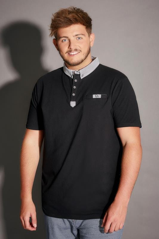 D555 Black Hayden Polo Shirt With Contrast Dotty Print Trim