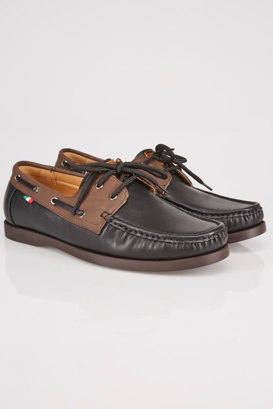 D555 Black Lace Up Boat Shoe With Brown Trim