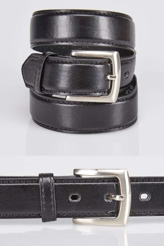 Belts & Braces D555 Black Plain Square Buckle Belt 057690