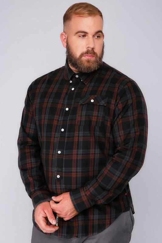 D555 Black & Red Checked Long Sleeved Shirt -TALL