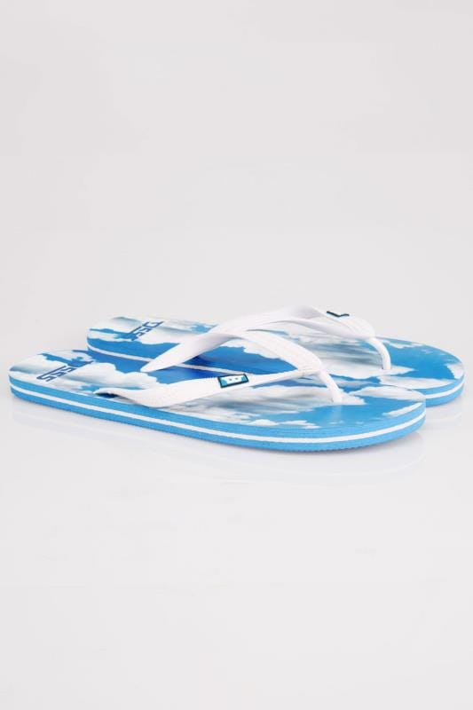 D555 Blue Cloud Print Flip Flops