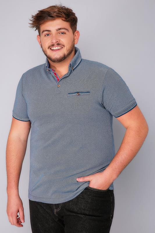 D555 Blue Edric Polo With Tipped Collar - TALL