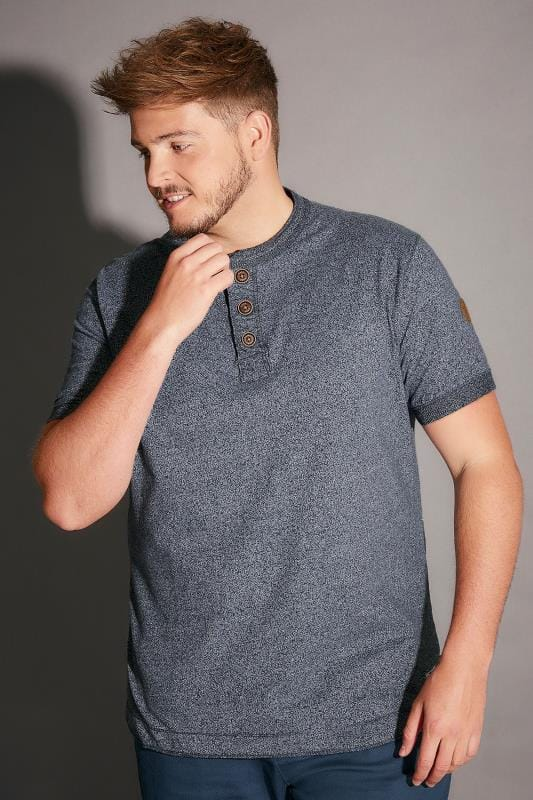 D555 Blue Short Sleeve Henley Top