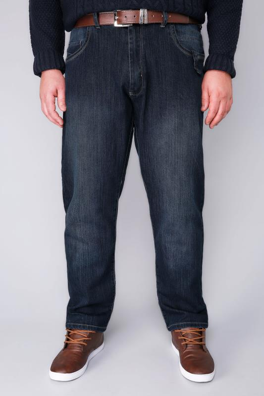 D555 Blue Tapered Leg Stretch Jeans