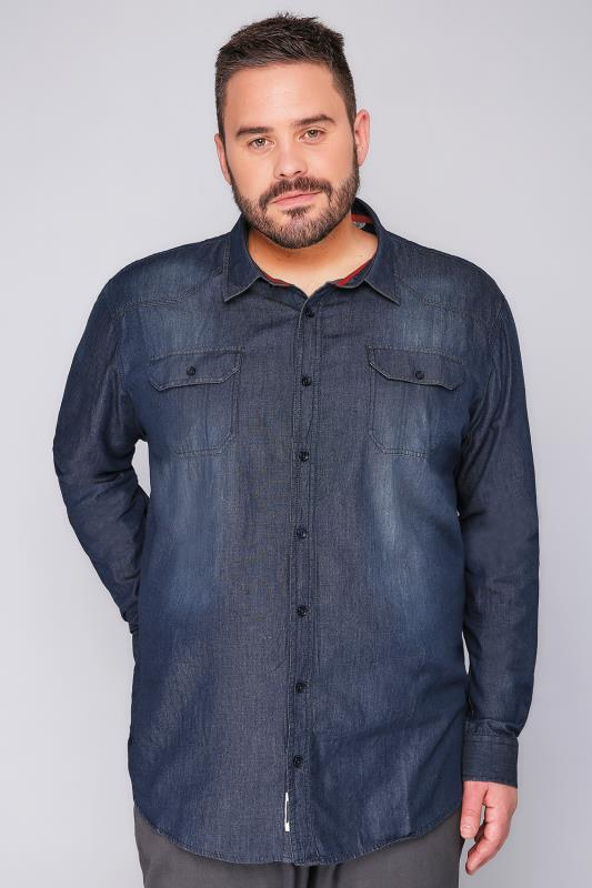 D555 Blue Vintage Denim Shirt With Twin Pockets