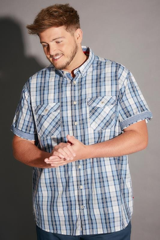 Casual Shirts D555 Blue & White Check Short Sleeve Cotton Shirt 200022