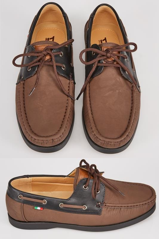 Shoes D555 Brown Lace Up Boat Shoe With Black Trim 110438