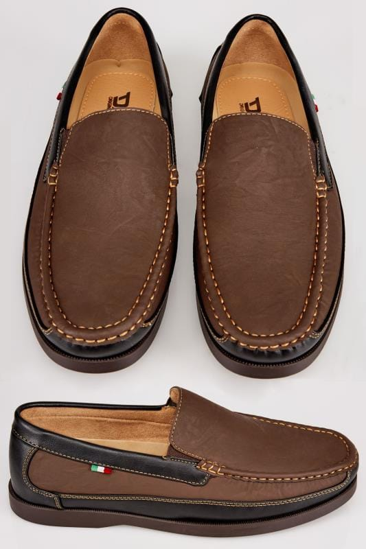 Shoes D555 Brown Slip On Shoe With Black Trim 110442