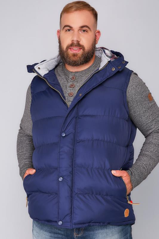 D555 Dark Blue Quilted Padded Gilet With Hood - TALL