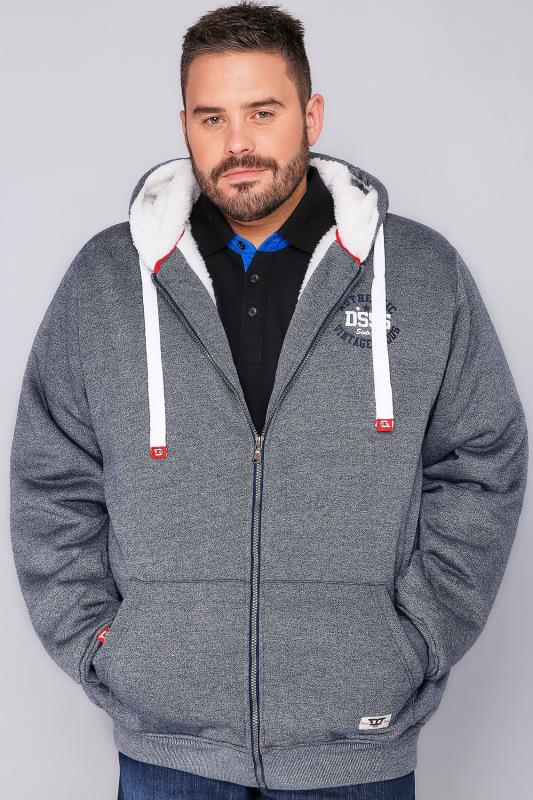 D555 Denim Blue Fleece Lined Hoodie
